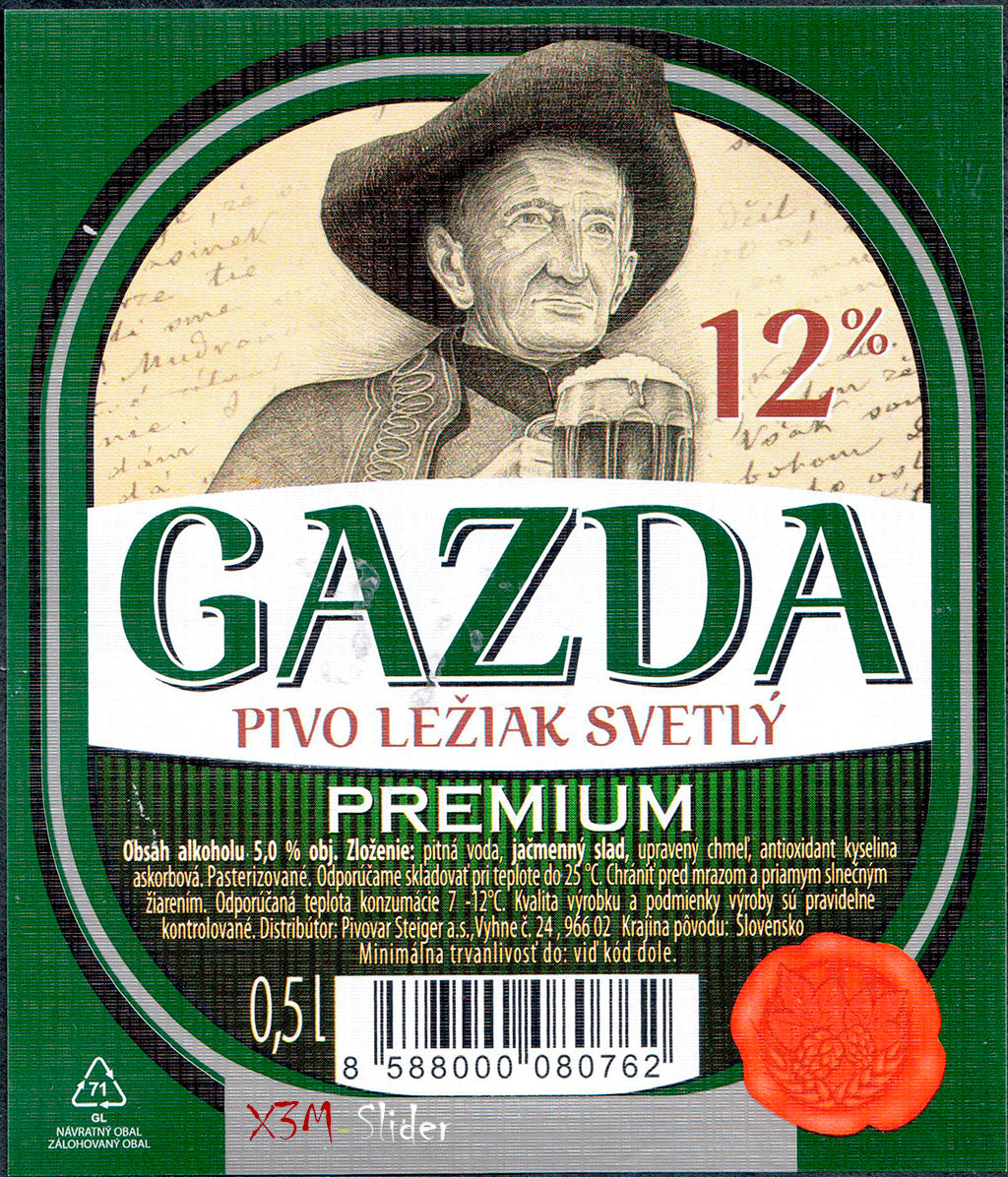 Steiger - Gazda Premium Pivo Leziak Svetly