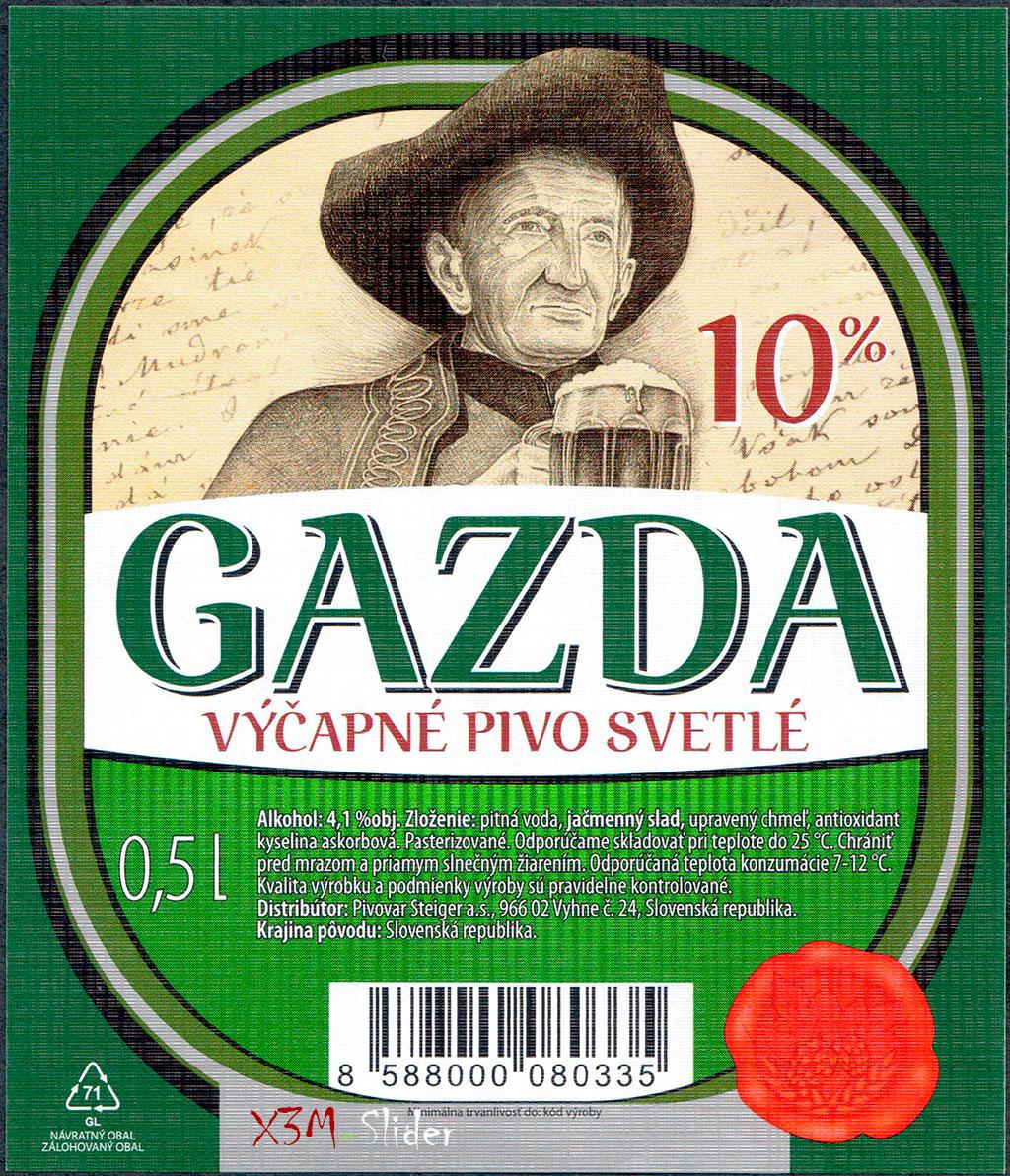 Steiger - Gazda Vycapne Pivo Svetle