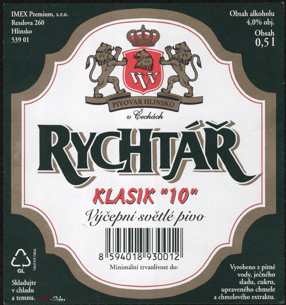 Rychtar - Klasik 10 - Vycepni Svetle pivo - Pivovar Hlinsko