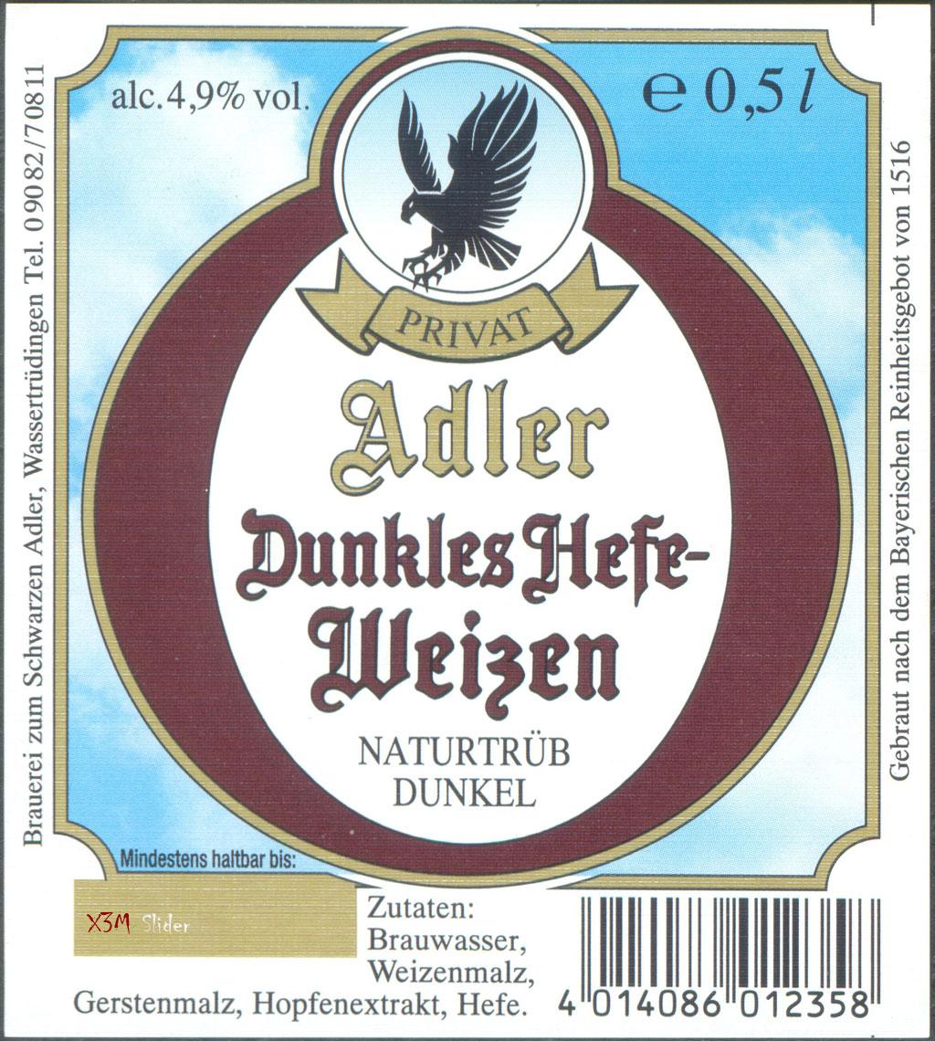 Adler - Dunkles Hefe-Weizen - Brauerei zum Schwarzen Adler (Oettinger)
