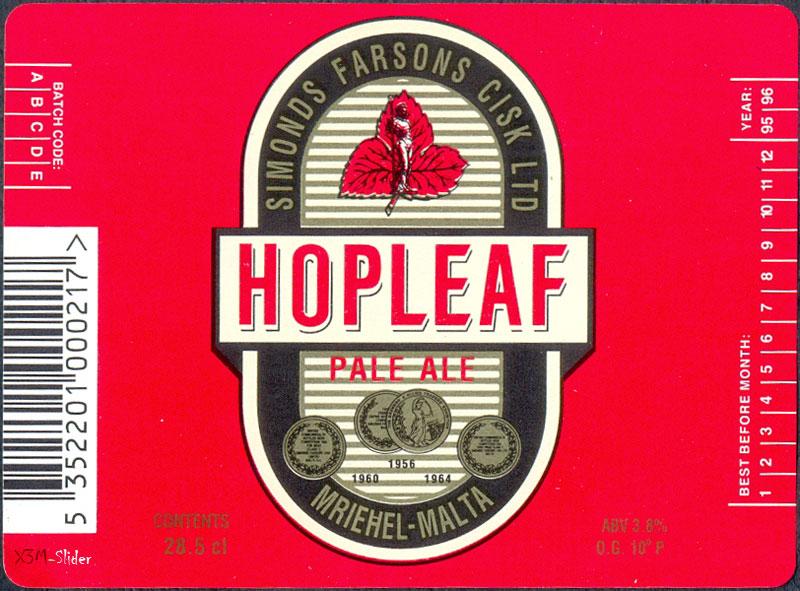Hopleaf - Pale ale 28.5 cl - Hop-Leaf - Simonds Farsons Cisk LTD - Mriehel-Malta
