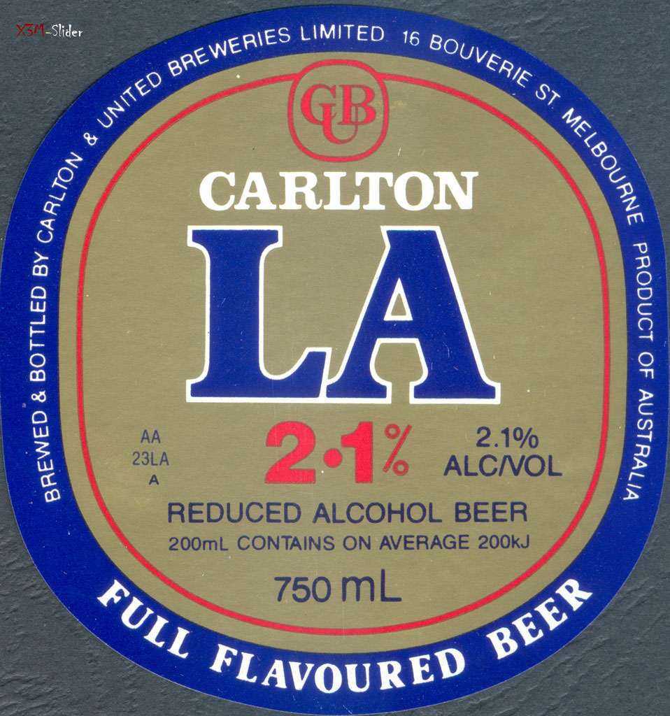 La 2.1 Reduced Alcohol beer - Carlton