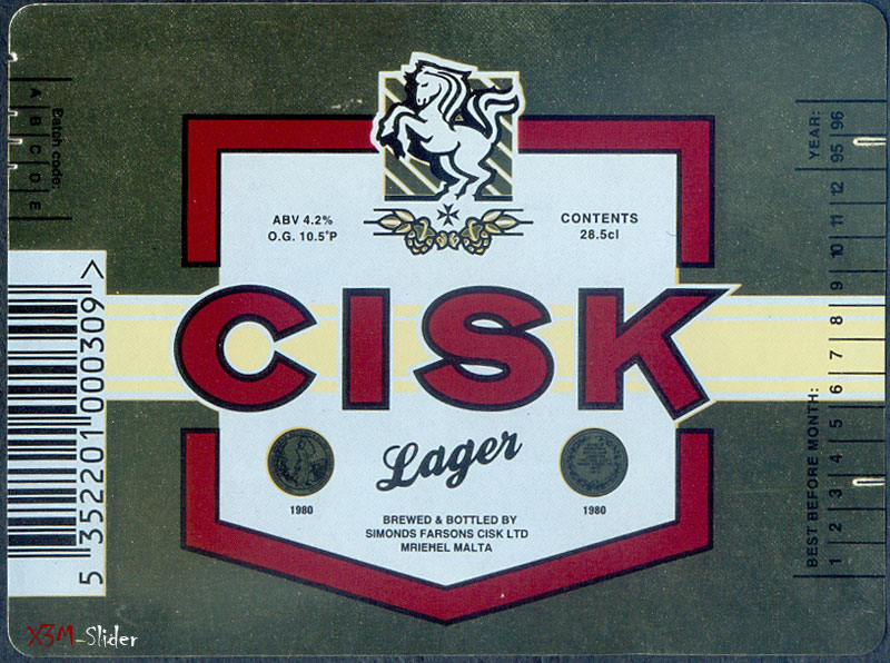 Cisk Lager 28.5cl - Brewery Simonds Farsons Cisk LTD (прямоугольная этикетка)